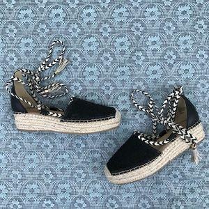 Nanette Lepore Black Espadrilles Wedge Shoes